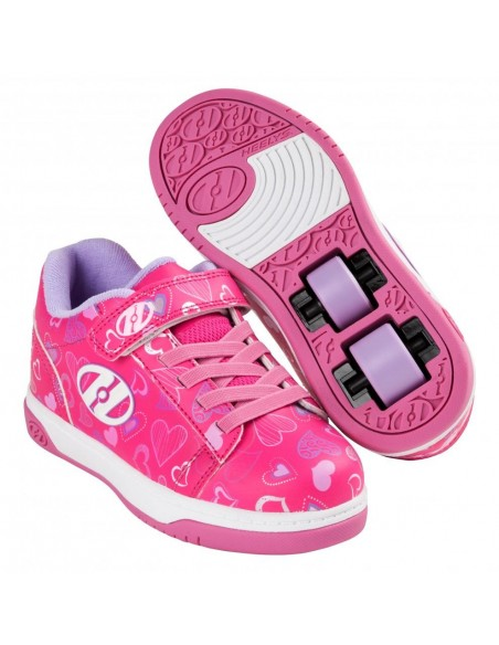 HEELYS X2 DUAL UP HOT PINK/WHITE/HEARTS